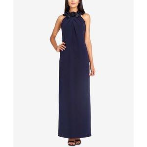 Tahari ASL Crepe Embellished Evening Dress size 14